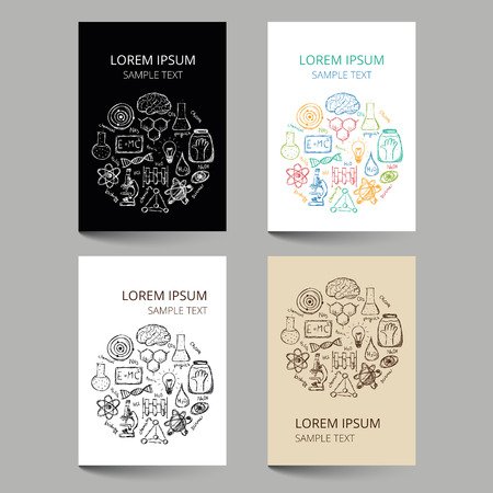 Set of document templates with scribbled chemistry or science pattern