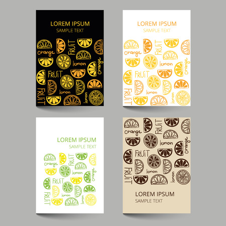 Set of document templates with scribbled fruit citrus pattern Vector
