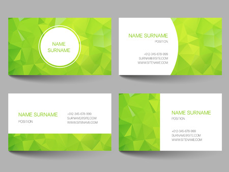 Set of business cards with abstract geometrical triangles