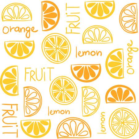 citrus fruit: Illustration of citrus fruit seamless pattern with text Illustration