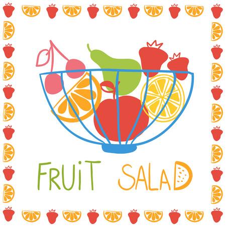 fruit salad: Illustration of hand drawn fruit salad in bowl