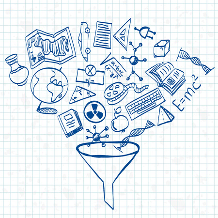 Illustratie van onderwijs of de school dingen doodle stijl