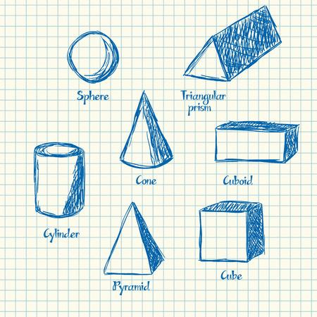 forme: Illustration de formes mathématiques style doodle 3d