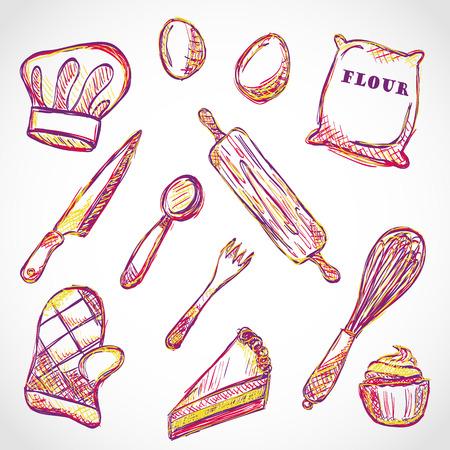 주방 액세서리 및 음식 낙서 스타일의 그림 일러스트