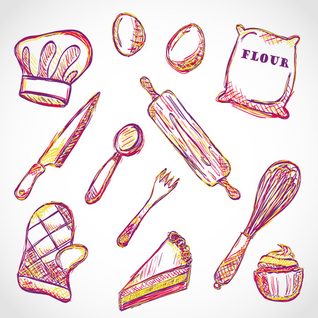 Illustration of kitchen accessories and food  doodle style Ilustração