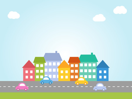 Illustration of city with colored houses and street with cars