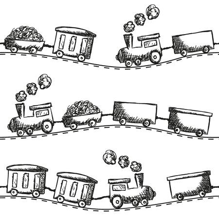 hand illustration: Illustration of train doodle style - seamless pattern