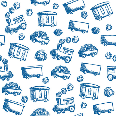 draw: Illustration of train doodle style - seamless pattern