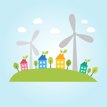 cartoon wind: Illustration of town with wind power plants