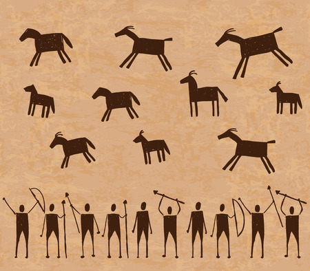 anthropology: Illustration of prehistoric cave art paintings with animals