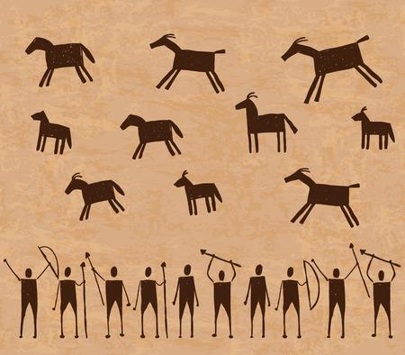 pintura rupestre: Ilustración de pinturas rupestres de arte rupestre con animales