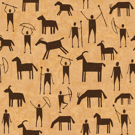 man painting: Illustration of prehistoric cave art paintings seamless pattern Illustration