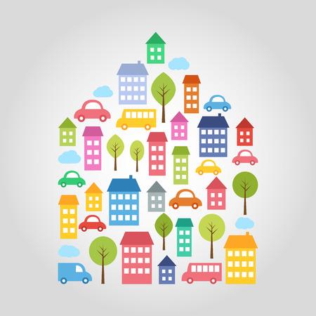 Illustration of town design elements in house shape Illustration