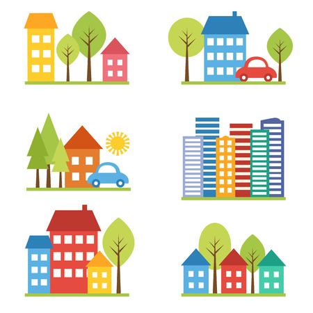 Illustratie van de stad met de auto en de straat kleine groepen Stock Illustratie