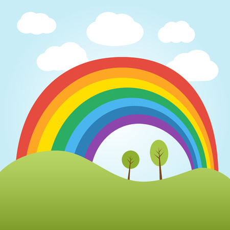 over the hill: Illustration of rainbow over the hill with trees