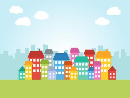 arboles caricatura: Ilustración de la ciudad con casas de colores y lugar para el texto