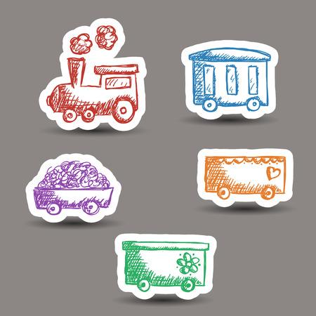 기차와 마차의 그림 낙서 스타일 - 스티커 일러스트
