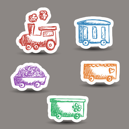 Illustration of train and wagons doodle style - stickers