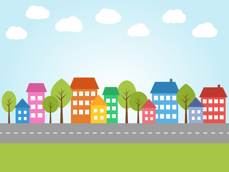 architecture and buildings: Illustration of city with colored houses and street