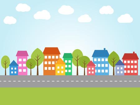 arboles de caricatura: Ilustración de la ciudad con casas de colores y calle Vectores