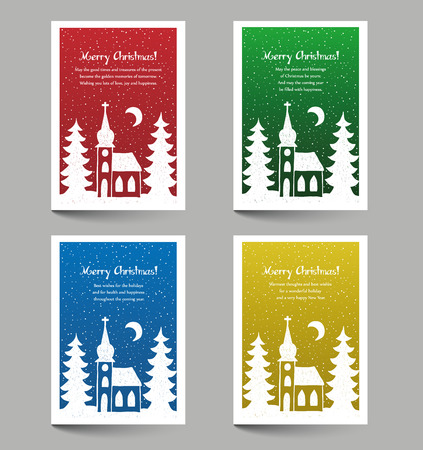 snow covered: Christmas cards with place for text - snow covered church doodle style