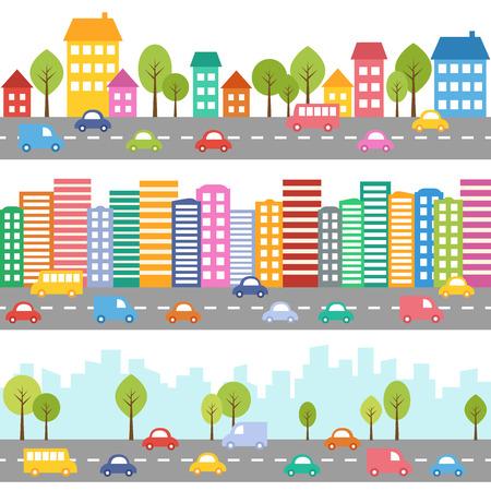 ilustracion: Ilustración de la ciudad con los coches y modelo inconsútil de la calle Vectores