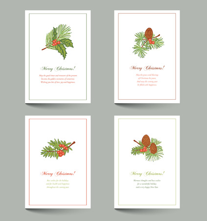 evergreen: Christmas cards with place for text - evergreen sprigs with cones