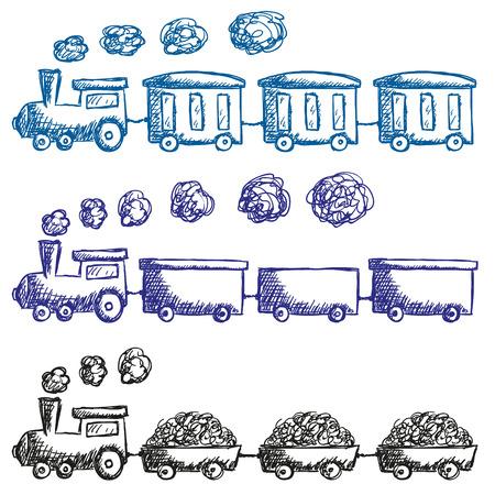 Illustratie van de trein en de wagons doodle stijl Stock Illustratie