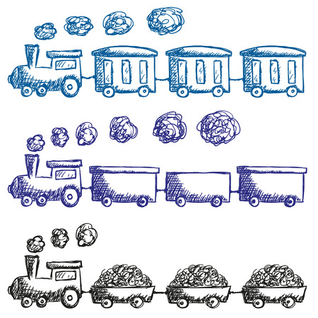 Illustration of train and wagons doodle style Vettoriali