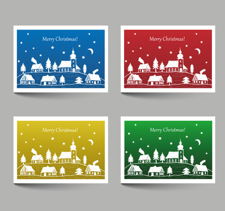 house illustration: Christmas cards with place for text - village with church doodle style Illustration