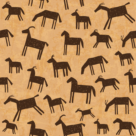 african warriors: Illustration of prehistoric cave art paintings seamless pattern Illustration