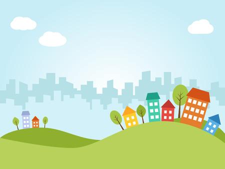 Abbildung der Stadt mit farbigen Häuser auf Hügel