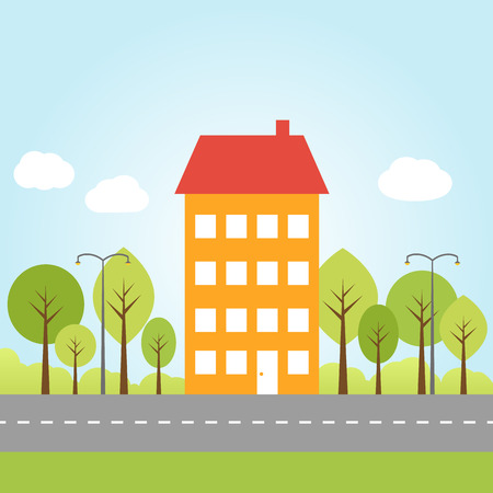 cartoon road: Illustration of house with trees on a street
