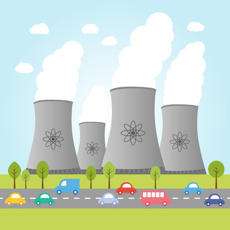 power plants: Illustration of nuclear power plants with road and cars