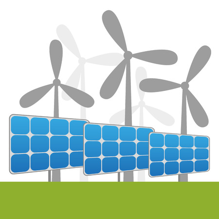 power plants: Illustration of solar and windmills power plants