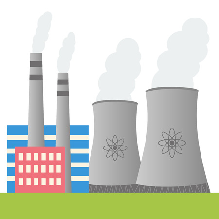 Illustration of nuclear power plant with place for text Illustration