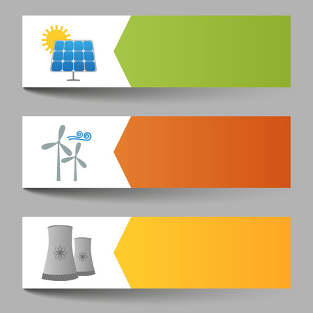 wind power: Illustration of solar, windmills and nuclear power plants banners Illustration