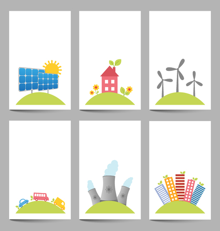 photovoltaic power station: Illustration of solar, windmills and nuclear power plants banners Illustration