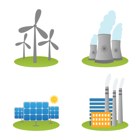 Illustration of solar, windmills and nuclear power plants icons
