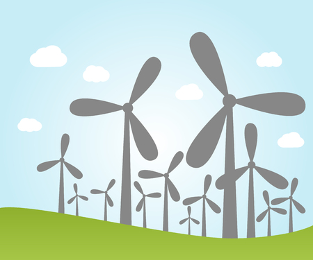wind power: Illustration of wind power plants with sky and clouds Illustration