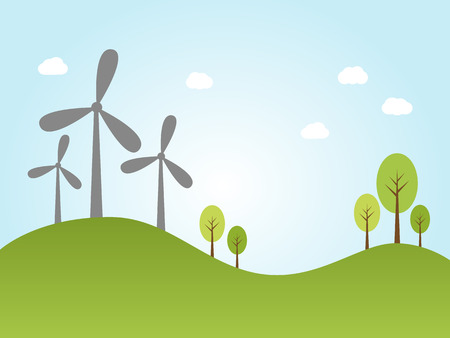 power plants: Illustration of wind power plants on hill with trees