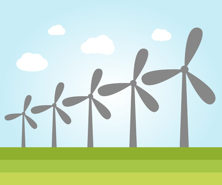 power plants: Illustration of wind power plants with place for text