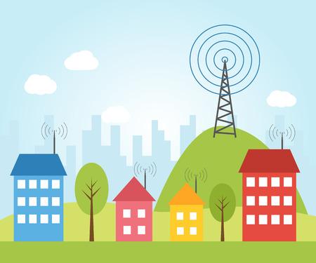 インターネットへの無線信号のイラスト市における住宅します。