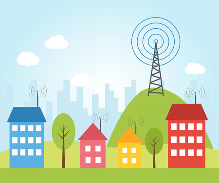 Illustration of wireless signal of internet into houses in city Illustration