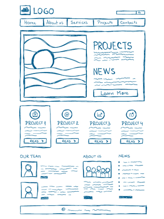 blog design: Hand drawn website layouts. doodle style design
