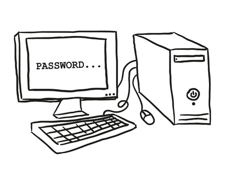 computer: Illustration of computer on table, doodle style Illustration