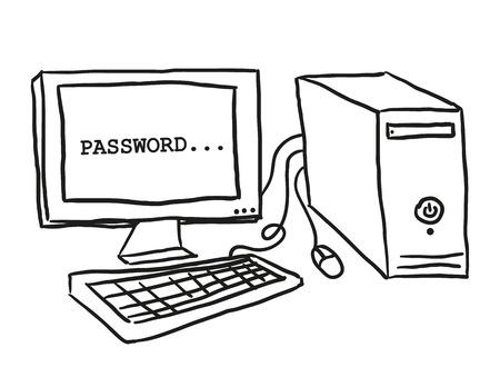 red informatica: Ilustración del ordenador en la mesa, el estilo de dibujo Vectores