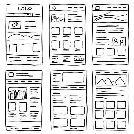 Ręcznie rysowane layoutów stron internetowych. Doodle styl projektowania