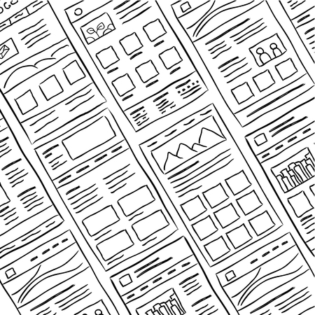 internet background: Hand drawn website layouts. doodle style design