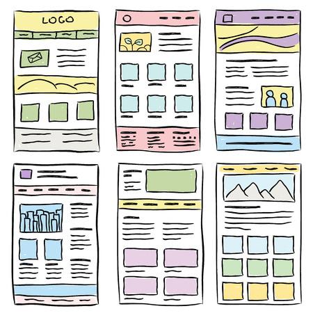 website design: Hand drawn website layouts. doodle style design